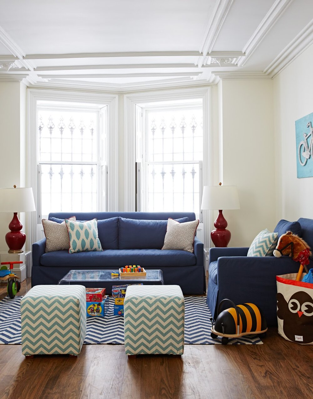 Funky patterns and colorful details take this cozy family room to the next level.