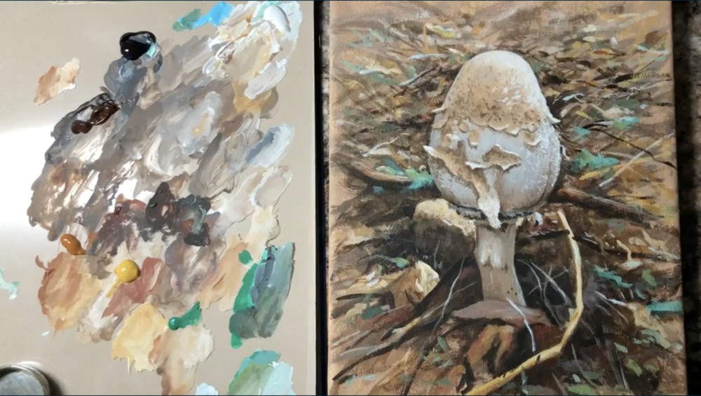 Practice your painting skills by creating a woodland mushroom on canvas.