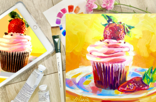 This strawberry cupcake and colorful plate make for fun canvas painting ideas.