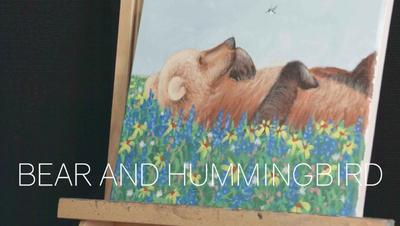 Paint in the forest with this sweet bear and hummingbird pair.