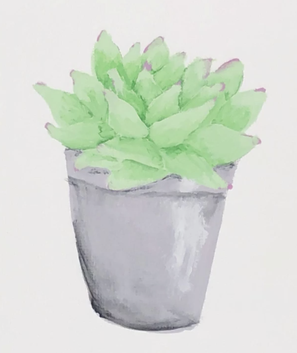 Succulents look great in real life and on canvas.