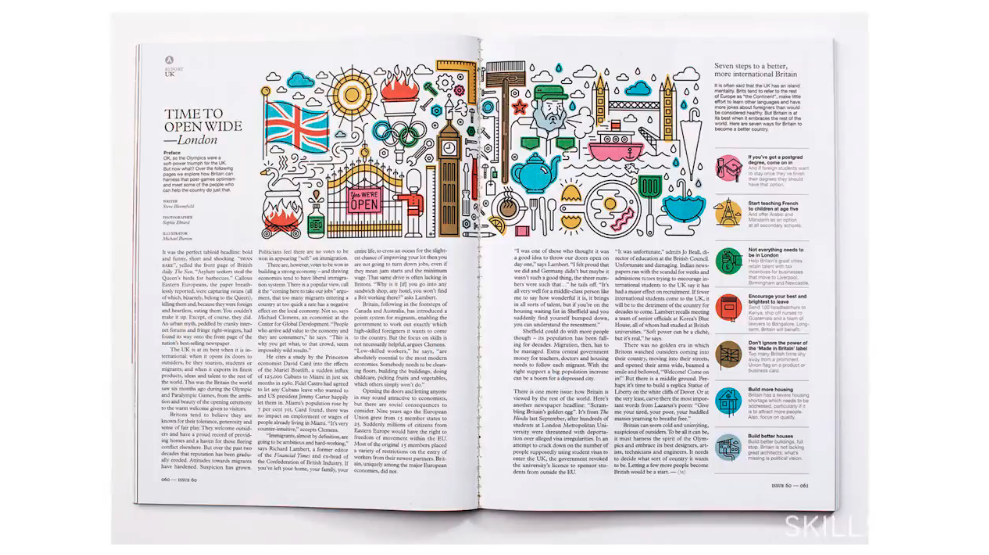 Graphic style varies by publication. This is a good example of a more fun and relaxed approach to editorial illustration.