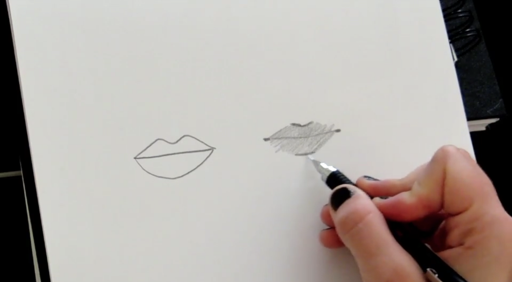 Use a darker tone to add shadow at the top and bottom of the lips.