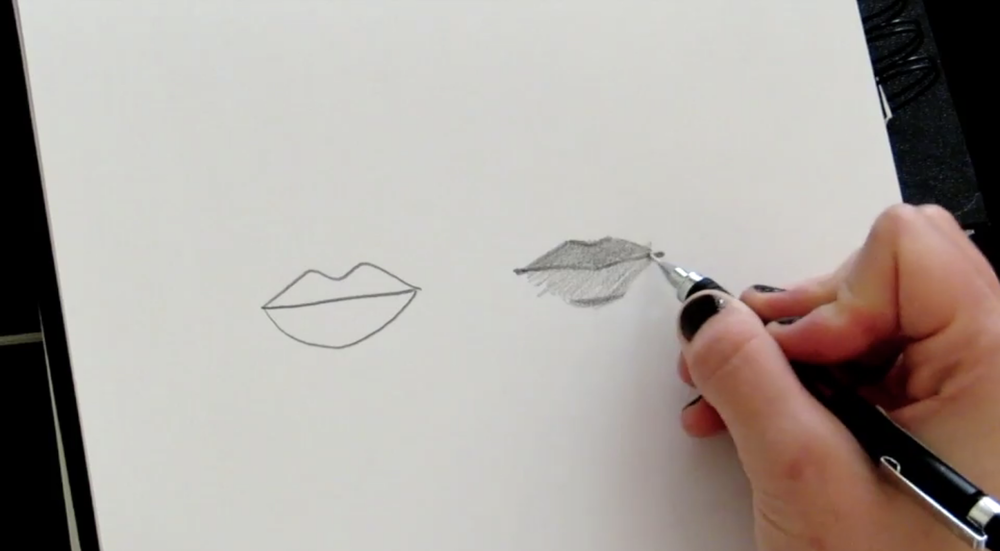 Using a 2B pencil you can add shading and detail to your lips sketch.