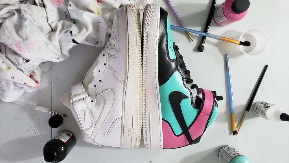 Transform an old pair of leather sneakers into an almost-brand-new pair by painting them.