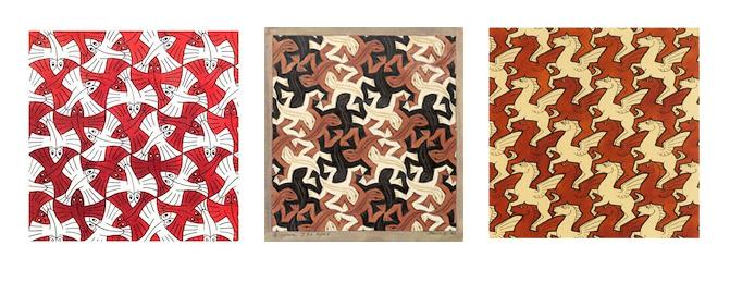 M.C. Escher tessellations are complex and intriguing.