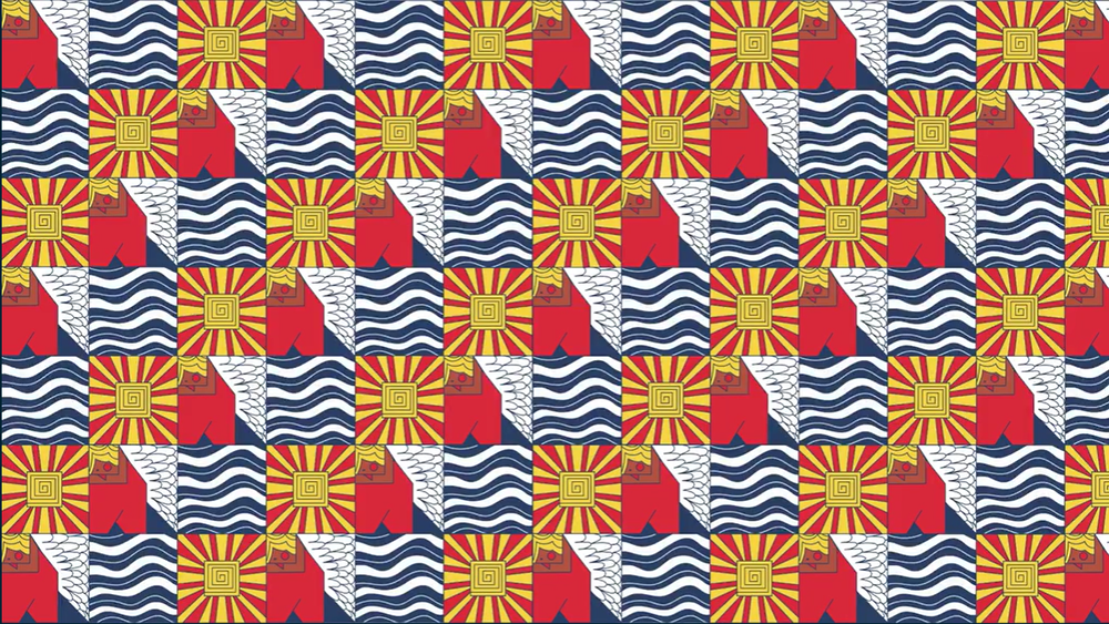This tessellating pattern uses simple squares that are filled in with other shapes and designs.