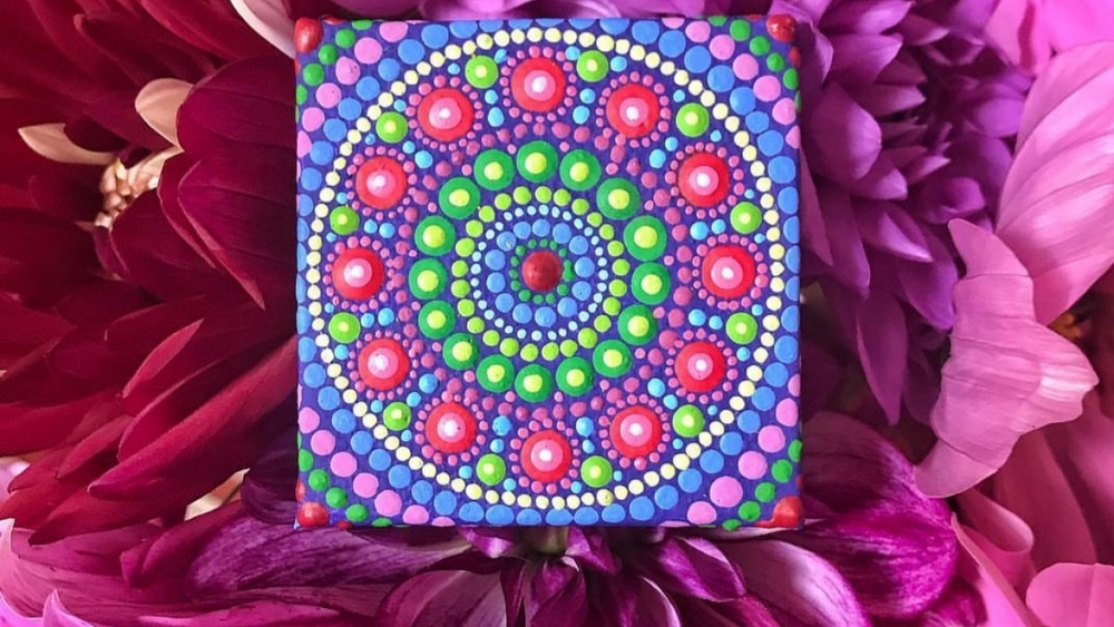 """Dot patterns can be created the """"old-fashioned"""" way with paints on canvas."""
