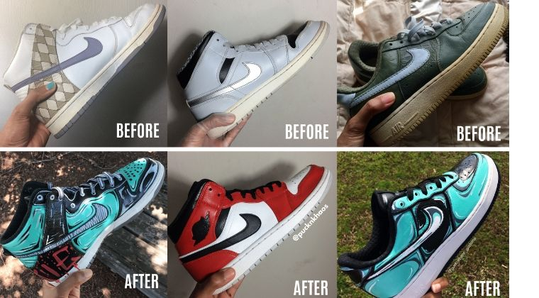 Before and after photos of old sneakers, from Gigi Rodgers' course  Sneaker Customizing for the Beginner: Learn How to Paint Your Sneakers