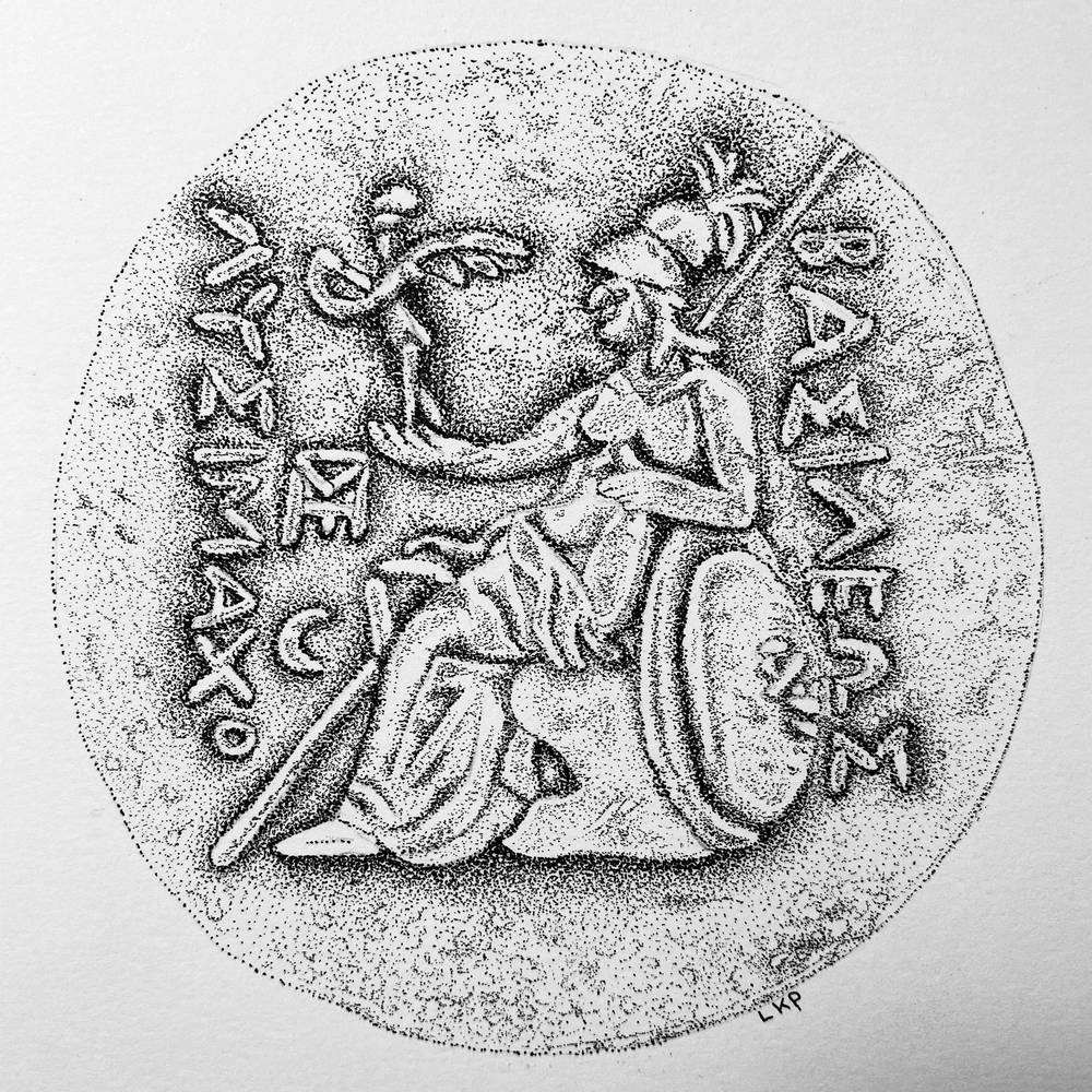 An ancient Greek coin drawn using ink pen and a stippling technique. Student work by LaVonne for  Ink Pen Stippling - Ancient Greek Coin