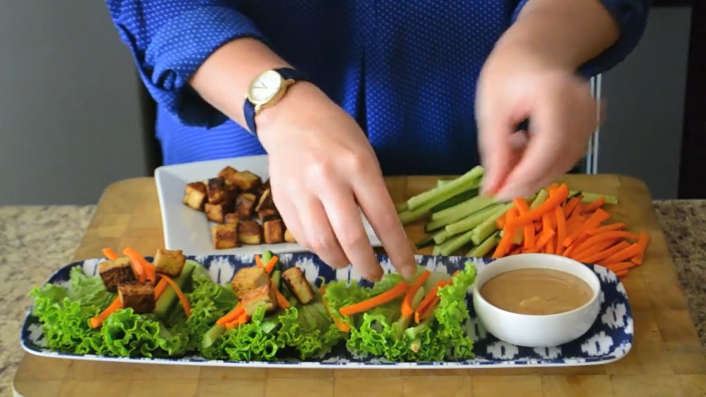 Thai peanut dressing makes a fantastic dipping sauce for lettuce wraps.