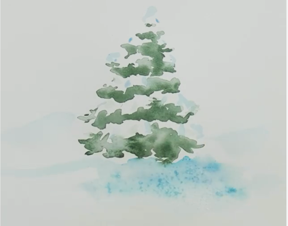 A finished example of a simple watercolor snowy tree.