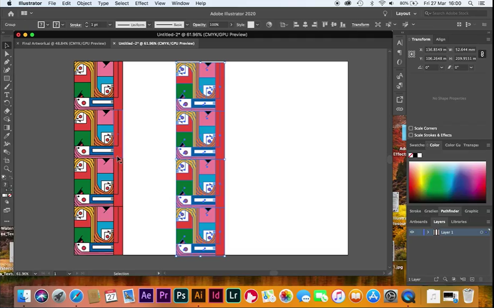 After creating the central component of your tessellating pattern, repeat it easily in Illustrator.