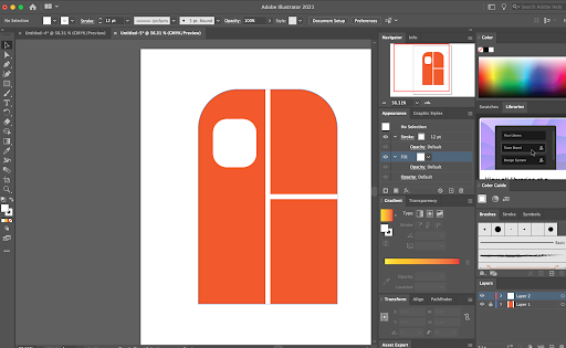 Here's an example of a logo built using Adobe Illustrator