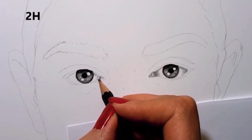 Shading the eyes first will help you to see where you need darker and lighter elements.