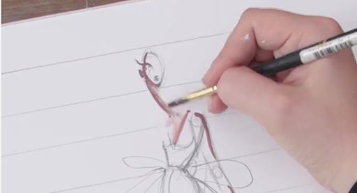 Outline your figure with watercolors.