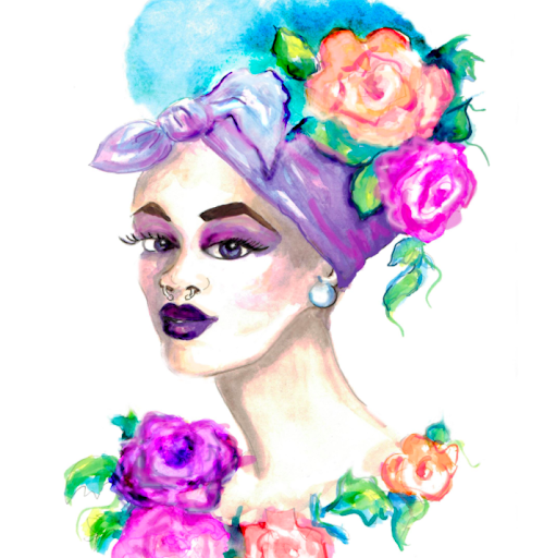This fun floral-enhanced illustration is a great example of fashion facial artwork.