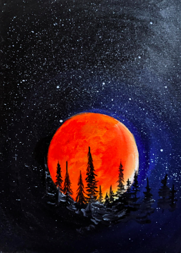 Put your paints to good use by creating this beautiful blood moon rising over the forest.