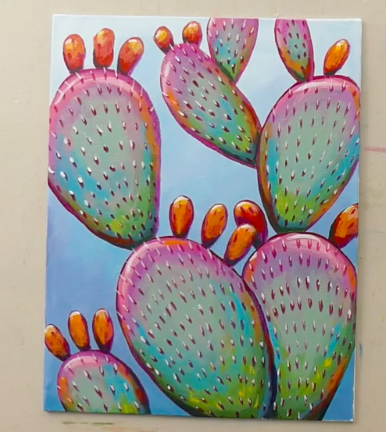 These cacti make a great canvas painting project for beginners.