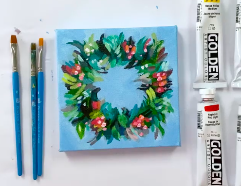 Create a beautiful wreath on your canvas.