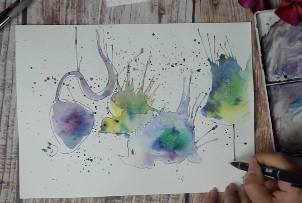 shapes from watercolor splatters