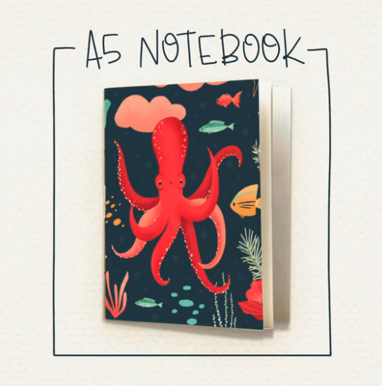 notebook with octopus