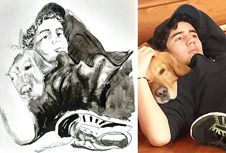 sketch of man and dog